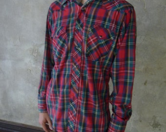 Red and Green Plaid Pearl Snap Shirt, mens christmas button down, wrangler western top for a man