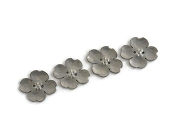 Pewter Flower Buttons Set of 4 Well Detailed Dogwood Blossoms for Crafts and Sewing Fashion