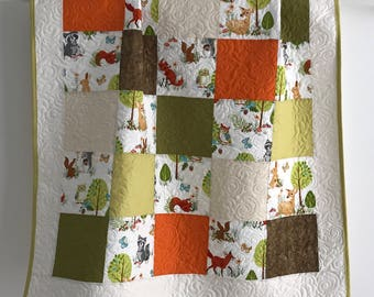 Baby Quilt featuring Forest Fellows Collection by Robert Kaufman Green Brown Rust White Tan Grey Blue