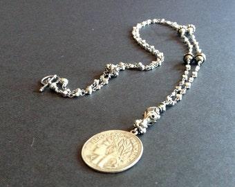 coin necklace, silver coin necklace, silver coin pendant, silver necklace pendant, coin jewelry, French jewelry
