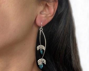 Silver dangle earrings, drop earrings, blue silver earrings, blue quartz earrings, silver earrings, modern earrings, geometric earrings