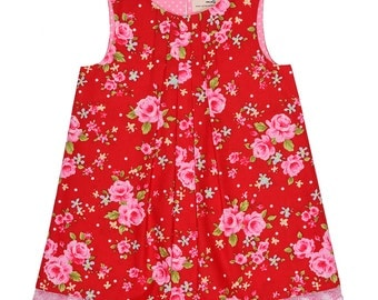 Red Vintage Floral Handmade 'Mini Me' Little Girls Pleated Front Beatrice Shift Dress
