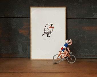 etching bird, bowtie, bow tie, black and white, engraving, art, illustration, engraving, red, minimal, animal, linoleum