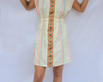 Summer Light Dress / Loose Midi Dress / Comfortable Dress / White Dress Boho / Happy Dress / Drawstring Dress / Vacation Dress / Dress