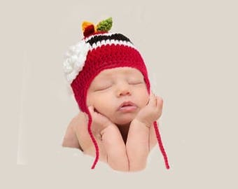 BABY GIRL HOCKEY Red Black Hockey, Crochet Hockey Hat, Baby Knit Hockey Hat, Hockey Baby Girl, Hockey Baby Gift, Newborn Girls Hockey Prop