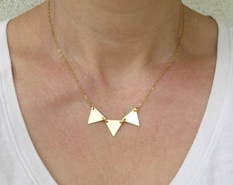 Summer SALE - Gold triangle necklace, Triangle pendant necklace, Gold geometric necklace