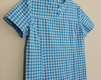 Mod Shift ||| Turquoise and White Houndstooth ||| 1960s ||| Medium ||| Retro Day Dress
