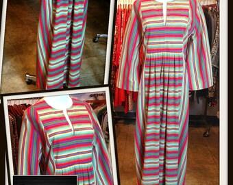 Vintage Stripe Multi Color Caftan Maxi Long Dress FREE SHIPPING