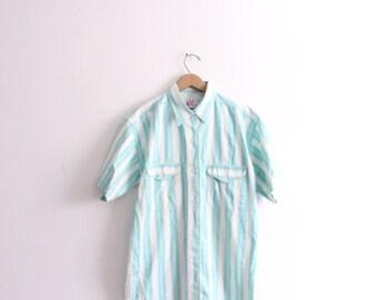 Fresh Teal Striped Button Down Shirt