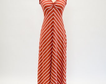 Vintage 70s Curve Hugging Burnt Rusty Orange and White Chevron Striped Maxi Dress, Womens Size Small Medium