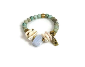 Blue Lace Agate and Afrian Turquoise Beaded Bohemian Stretch Bracelet