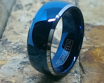 Men's Tungsten Blue Domed with Beveled Silver Edges Comfort Fit Personalized Wedding Band Ring Size 5 - 15 FREE ENGRAVING AZ9