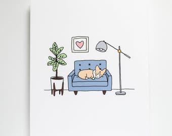 Corgi Home Art Print, 8x10 Print, Corgi Print, Dog Print, Dog Home, Art, Cute Print, Illustration, Drawing, New Home