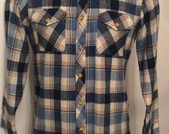 Vintage MENS 1970s Sears white, blue & brown plaid flannel shirt , size medium