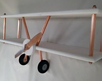 LARGE White Airplane Shelf, Biplane Shelf, White and Copper Airplane Shelf, Industrial Airplane Shelf, Airplane Decor
