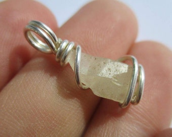 Libyan Glass Tektite / Natural Crystal Pendant / Sterling Silver Necklace / Libyan Gold Tektite / MANIFESTATION and PROTECTION