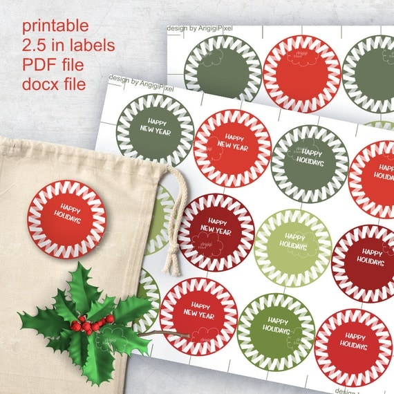 Festive Round Labels, Jolly Etiquette Happy Holidays, Happy New Year, 2.5 inch, edit text in Word, download labels