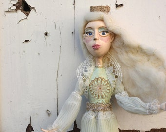 White Queen art doll ooak, paper clay art handpainted figure, sculpted by hand, Shabby gothic chic iced princess, the Snow Queen fairy witch