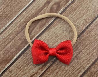 Red Bow Nylon Headband, Small Red Bow Headband, Red Nylon Headband, Mini Red Bow Headband, Baby Nylon Headband, Newborn Bow Headband