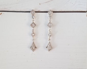 Dainty Elegant Polished Sterling Silver 925 Antique Vintage Look White Sparkling CZ Dangle Drop Special Occasion Bridal Wedding Earrings