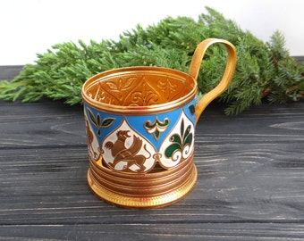 Vintage glass holder Collectibles Metal enamel glass-holder Soviet vintage russian tea glass holder Podstakannik with celtic animal decor