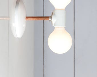 Double Copper Wall Sconce Light - Bare Bulb