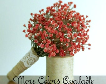 """Baby's Breath Bouquet, Burlap and Lace Wrap, Orange, Cocoa Brown, Coral Pink, Burgundy Red, Blue, Cream, Lavender, Green, White, """"Sweet"""""""