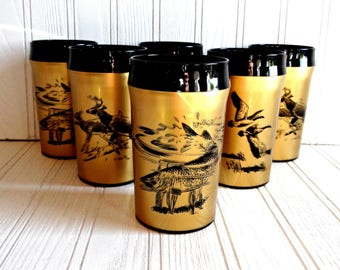 Vintage Gold NFC Thermal Insulated Wildlife Tumblers 10 Oz Set of Six 1960s, Retro Drinkware, Vintage Barware, Wedding Gift, Gifts for Him