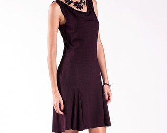 Tango Dress / Tango Clothing / Black Dress / Sleeveless Dress / Tango Clothes / Cowl Neck / Godet Back