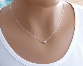 100% Sterling Silver Ball Necklace - tiny ball on a sterling silver chain, Minimalist Necklace, Layering Necklace, Silver Necklace
