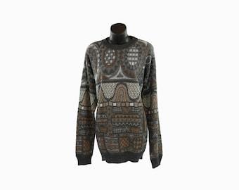 Early 90s Neiman Marcus Vintage / Designer Sweatshirt / Knit Menswear / Abstract Pattern Jumper / Long Sleeve Top / Thick Winter Sweatshirt