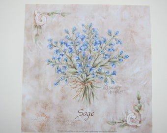 Sage Print Herb Bouquet Vintage Style Open Edition  Signed 6x6 by Audrey Ascenzo