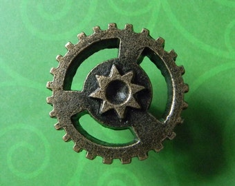 Cool Bronze Finished Cast Iron Gear Knob. Cool Industrial Style Steampunk  Hardware Doorknobs, Drawer