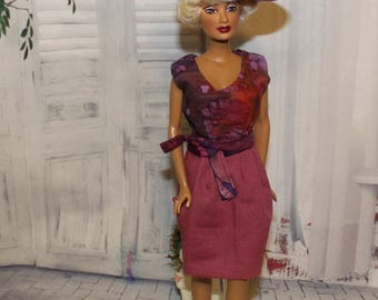 Marvelous in Mauve -Dress will fit vintage Mikelman dolls like Candi & Charisse. Dress, Belt and Hat.  Will not fit Barbie dolls.