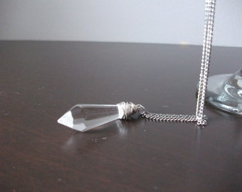 Wire wrapped crystal spike pendant stainless steel necklace