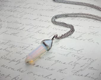 Opalite crystal point pendant necklace