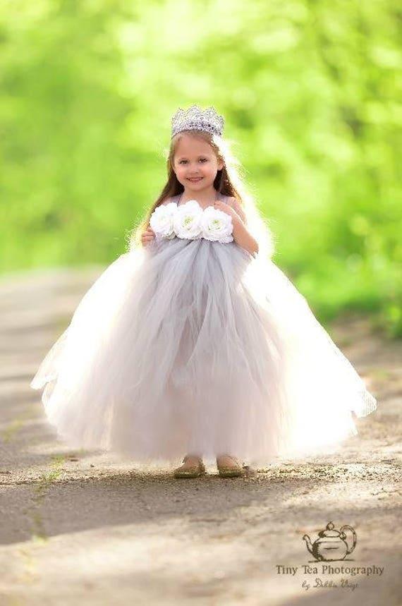 Grey and white tutu dress flower girl jr bridesmaid birthday il570xn mightylinksfo