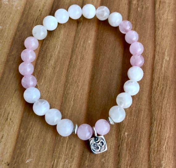 Fertility Bracelet, Healing Bracelet, Fertility Jewelry, Rose Quartz, Moonstone, Thai Silver Om, Crystal Healing, Heart Chakra Yoga Jewelry