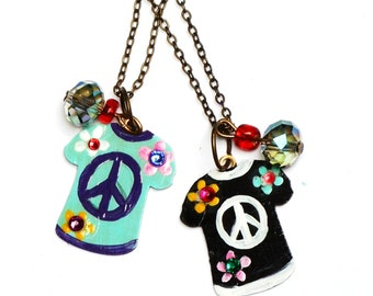 Peace Sign T Shirt Necklace Hand Painted Hippie Boho Jewelry FREE SHIPPING