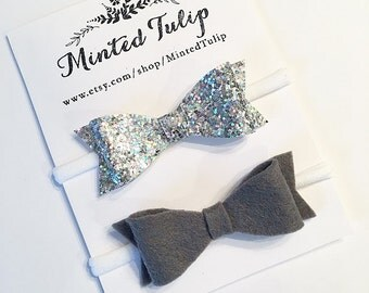 Silver Glitter and Grey Felt Bow Set Headbands or Clips