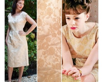 Vintage Champagne and Gold Shimmery Floral Brocade 1960s Dress by Ferman O'Grady Size Medium or Large