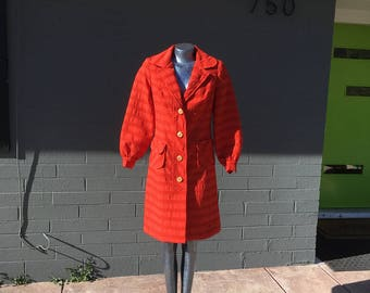 1960's Mod Small Bright Orange Red Tomato Burt Stanley Jacket Seersucker Style Coat Midi length Size 2