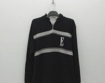 Elle Sweatshirt Vintage Elle Hoodie Elle Sports Black Pullover Elle Sweater Womens Size L