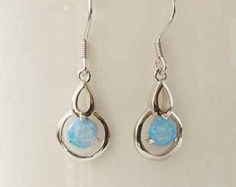 Silver Opal Earrings, Sky Blue Opal, Silver Earrings, Opal Jewellery, Blue Opal Jewelry, UK Seller, October Birthstone, Sterling Silver