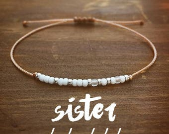 Sister Morse Code Bracelet - Best Friend Gift - Gift for Her - Sister Bracelet - Friendship Bracelet - Beaded Bracelet