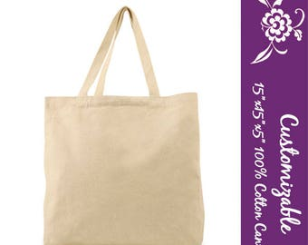 X-Large Canvas Cotton Tote, Blank to customize with custom art or monogram, Wedding Party Gift, Bridesmaid, Party Gift, Bulk Discount