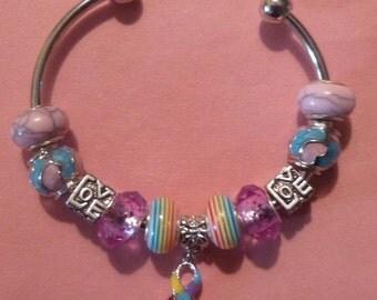 21- Open European Style Charm Bracelet ~ Autism-Pride