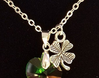St. Patrick's Day Swarovski Heart Necklace, 14mm and 18mm Moss Green Swarovski Heart, Green Crystal Heart & Shamrock Necklace