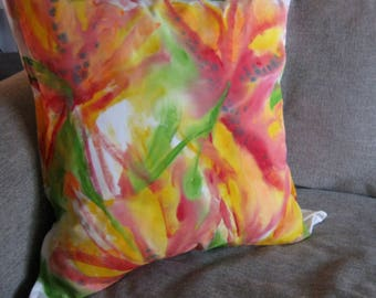 Hand Painted pillow cover - Red tulips, lilies, bird of paradise