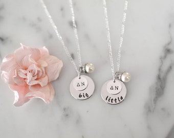 Sorority Big and Little Necklace SET of TWO with Greek Letters and Pearl Charm - Big & Little Gift/Present for Initiation or Reveal